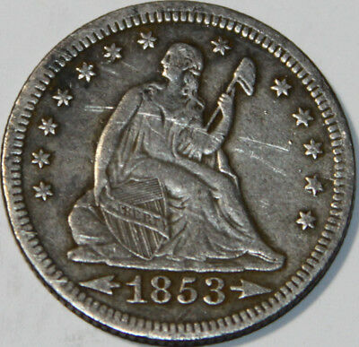 1853-P Seated Liberty Quarter Arrows and Rays Scratched [SN01]