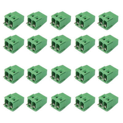 20pcs 2Pin Plug-in Terminal Block Screw PCB Mounting Pitch 5.08MM 300V/10A