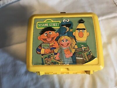 Aladdin lunchbox - Sesame Street Yellow  approx. 1980s  lunchbox ONLY
