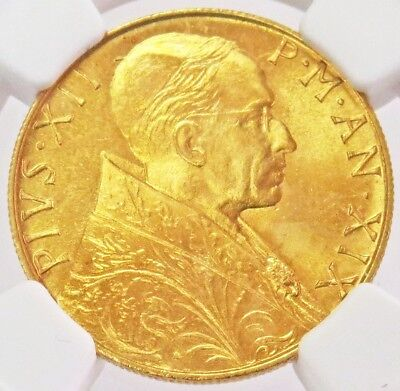 1957 /xix Gold Vatican City 100 Lire Pope Pius Xii Coin Ngc Mint State 66