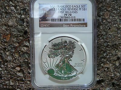 2012 s reverse proof silver American eagle NGC PF 70 First Releases