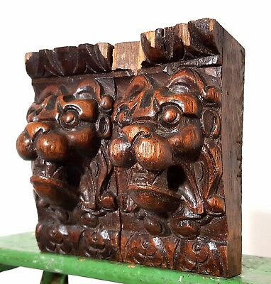 Architectural Salvage Pair Antique French Hand Carved Wood Lion Corbel Bracket