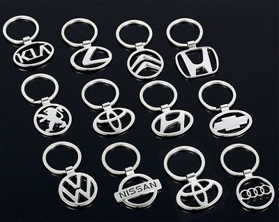 3D Chromed Car Logos Titanium Key Chain Car Keychain Ring Keyfob Metal Keyrings