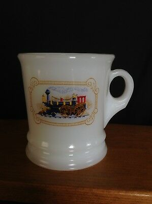 Avon Milk Glass Locomotive Train Shaving Shave Mug Cup Vintage EUC
