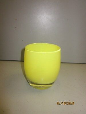 Small Yellow Glassy Baby Candle Holder/Wine Glass 3x3