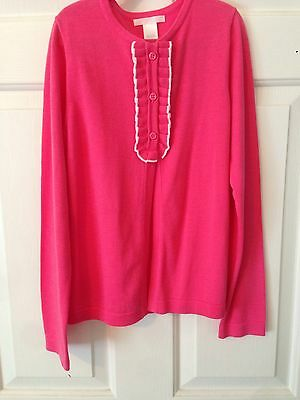 JANIE & JACK NWT Drk Pink Cotton Sweater/White Contast And Ruffle Detail Size 10