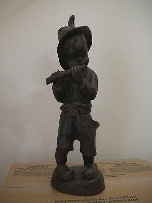 """15"""" Antique Hand Carved Wood Boy Playing Flute Statue"""