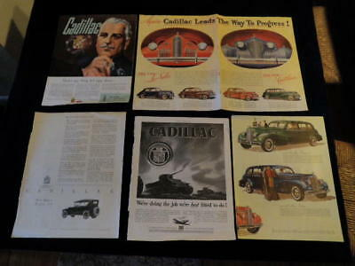 "Vintage 1920-1939 Cadillac Car Ad Lot of 5 Automobile  10 1/2""x13 1/2""  Q345"