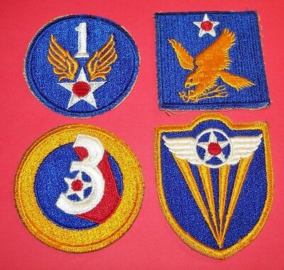 ORIGINAL CUT-EDGE WW2 1st, 2nd, 3rd & 4th AIR FORCE PATCHES LOT