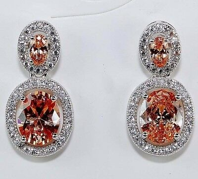 4CT Padparadscha Sapphire & Topaz 925 Solid Sterling Silver Earrings Jewelry