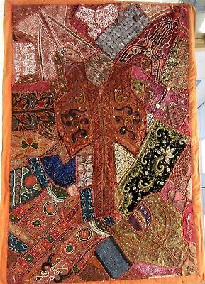 Large Vintage Marubhumi Tapestry Made From Saris+ Beads + Sequined +