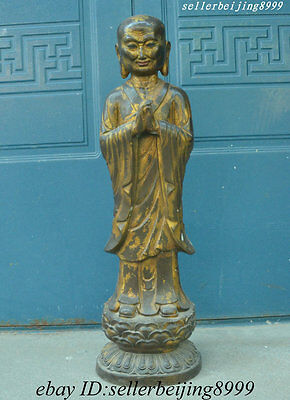 "24"" Ancient China Tibet Tibetan Buddhism Temple Purple Bronze Old Buddha Statue"