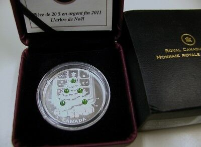 2011 1 oz Silver Canadian $20 Jeweled Christmas Tree (W/Box & COA)