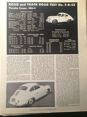 Porsche 356-4 Coupe Road Test Reprint From Road & Track - Nov 1952