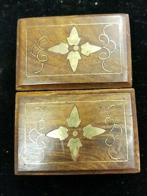 "(2) Wooden Jewelry Box Storage vintage small Treasure Chest Wood 3""X2""X1 1/2"""