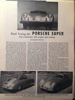 Porsche Super Coupe Road Test Reprint From Road & Track - Sept 1954