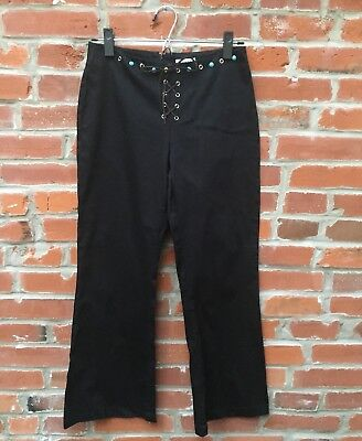 Vintage 90s Lace Up Black Pants Turquoise Stone Studs Metal Eyelet (1562)