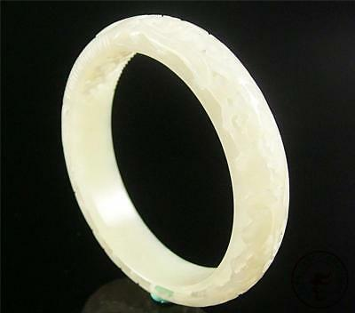 Antique Old Chinese Nephrite White Jade Bracelet Bangle RUYI PATTER OPEN RELIEF