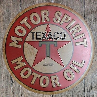 Metal Tin Sign round texaco motor oil decor Bar Pub Retro Poster 30cm diameter