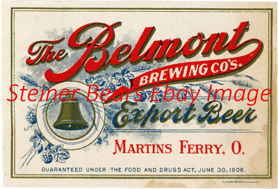 Pre-Prohibition Belmont brewing Co. Export Beer Bottle Label  Martins Ferry OH