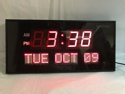 Ivation Big Oversized Digital LED Calendar Clock with Day and Date Red Works