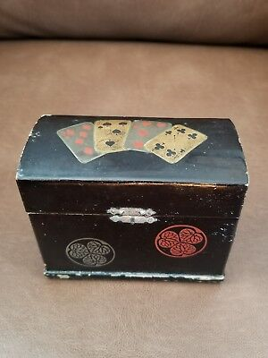 Vintage Japanese Lacquer Box Double Deck Playing Cards Box