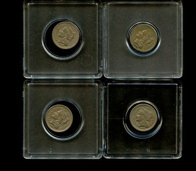 (4 Different) 3 Cent Nickel US Coin Lot-1868,1869,1873,1875-Fine to VF or better