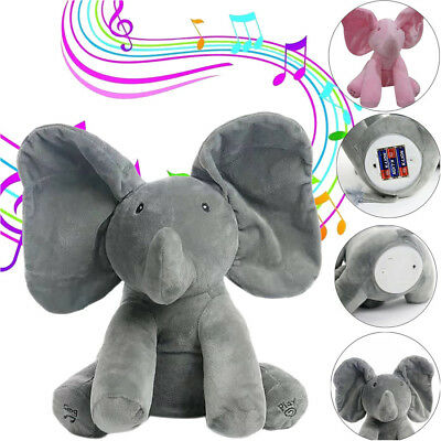 Peek A Boo Elephant Baby Flappy Plush Toy Singing Stuffed Animated Kids Doll