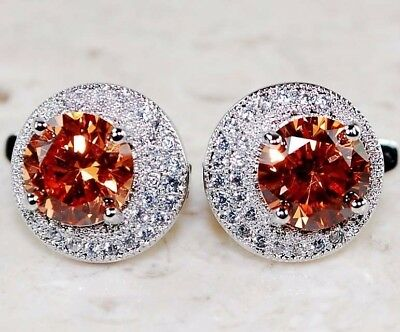 3CT Padparadscha Sapphire & Topaz 925 Solid Sterling Silver Earrings Jewelry