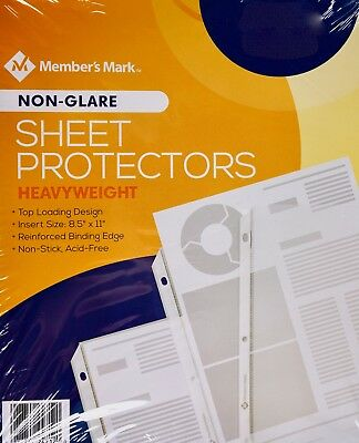 """Member Mark Sheet Protectors Heavyweight 8.5"""" x 11"""" Non-Glare, 100 or 250 Count"""