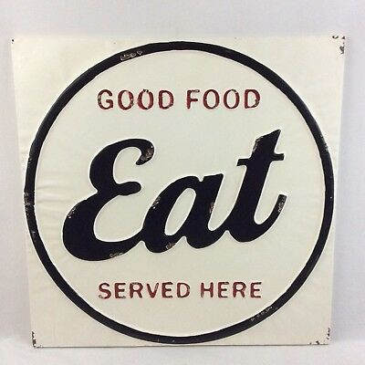 Good Food EAT Tin Farmhouse Kitchen Sign Vintage Style Rustic Chipped Paint Rust
