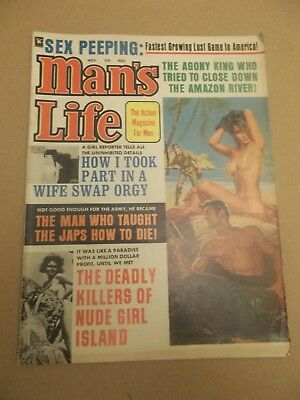 MAN'S LIFE November 1967 the action magazine for men Killers of Nude Girl Island