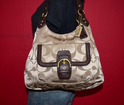 COACH CAMPBELL Signature Brown Tan Sateen Leather Shoulder Tote Purse Bag 24742