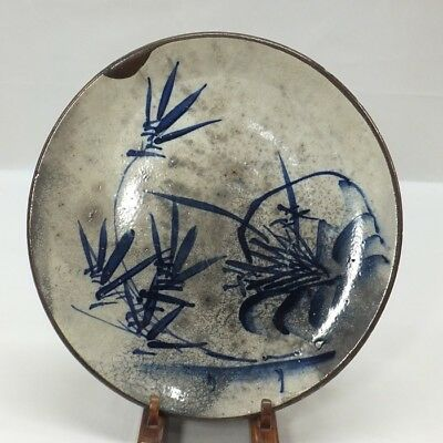 E977: Real old Japanese SETO pottery plate with tasteful blue painting