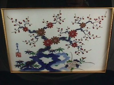 ANTIQUE CHINESE BLUE & WHITE PORCELAIN PLAQUE w/hand painted Enamel and gold