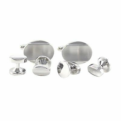 Classic Brushed Silver Tone Curved Oval Formal Wear Shirt Cuff link And Stud1273