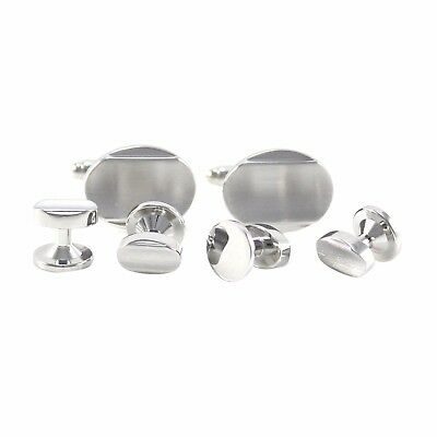 Classic Brushed Silver Tone Curved Oval Formal Wear Shirt Cufflink And Stud 1273