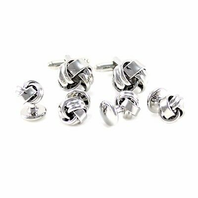 New Classic Smooth Knot Cuff Link And Shirt Studs Formal Wear Set With Box 0999
