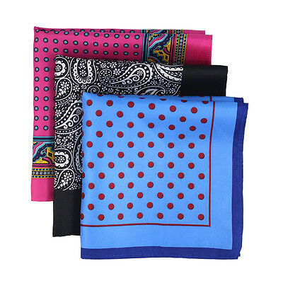 Silk Printed Pocket Square Men's Silk Handkerchief Three Designs Set