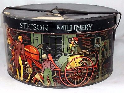 Vintage Stetson New York Heavy Duty Colorful Cardboard Hat Box W Leather Strap