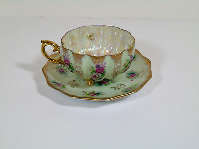 Vtg Royal Sealy Lusterware China Porcelain Footed Green Gold Cup & Saucer Set