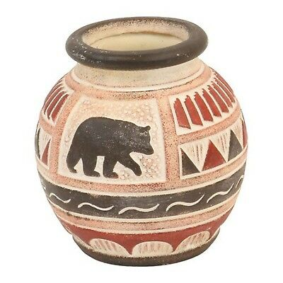 Bear Clay Pottery Vase, Etched Primitive Native American Design, 5.5-inch... New
