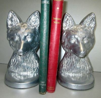 Vintage fox head and bust aluminum bookends a pair all metal 7 lb very heavy USA