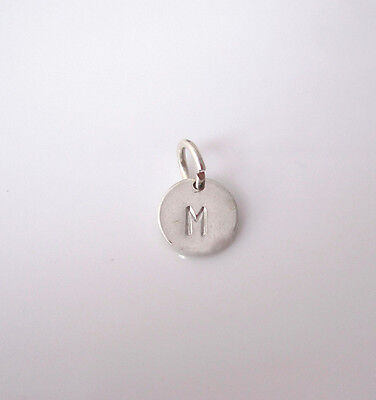 Solid sterling silver A-Z INITIAL LETTER MONOGRAM small disc coin charm pendant