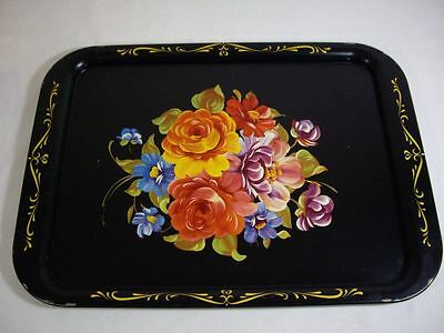 Vtg Metal Serving Tray Hand Painted Flowers Roses Shabby French Country Chic