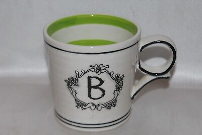"ANTHROPOLOGIE Initial ""B"" Collectible 4"" Ceramic Coffee Mug Cup"