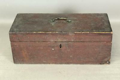 A Very Fine 18Th C Document Box In The Best Old Original Dry Red Paint