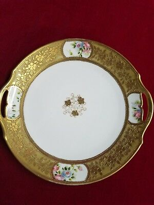 """Nippon Antique serving Plate Ornate Gold /hand painted 10 1/2"""""""