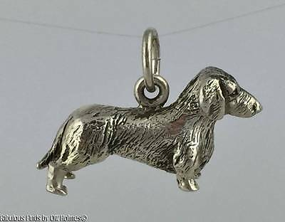 Finest Quality Sterling Silver DACHSHUND Dog Charm ORB Bade Rebajes AKC Approved