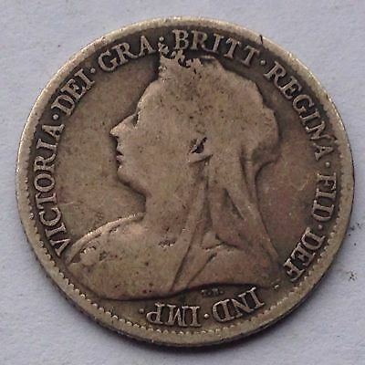 Great Britain Six Pence Silver Coin, issued in 1899, circulated